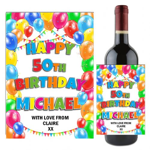 Personalised Happy Birthday Balloons Wine / Champagne Bottle Label N108